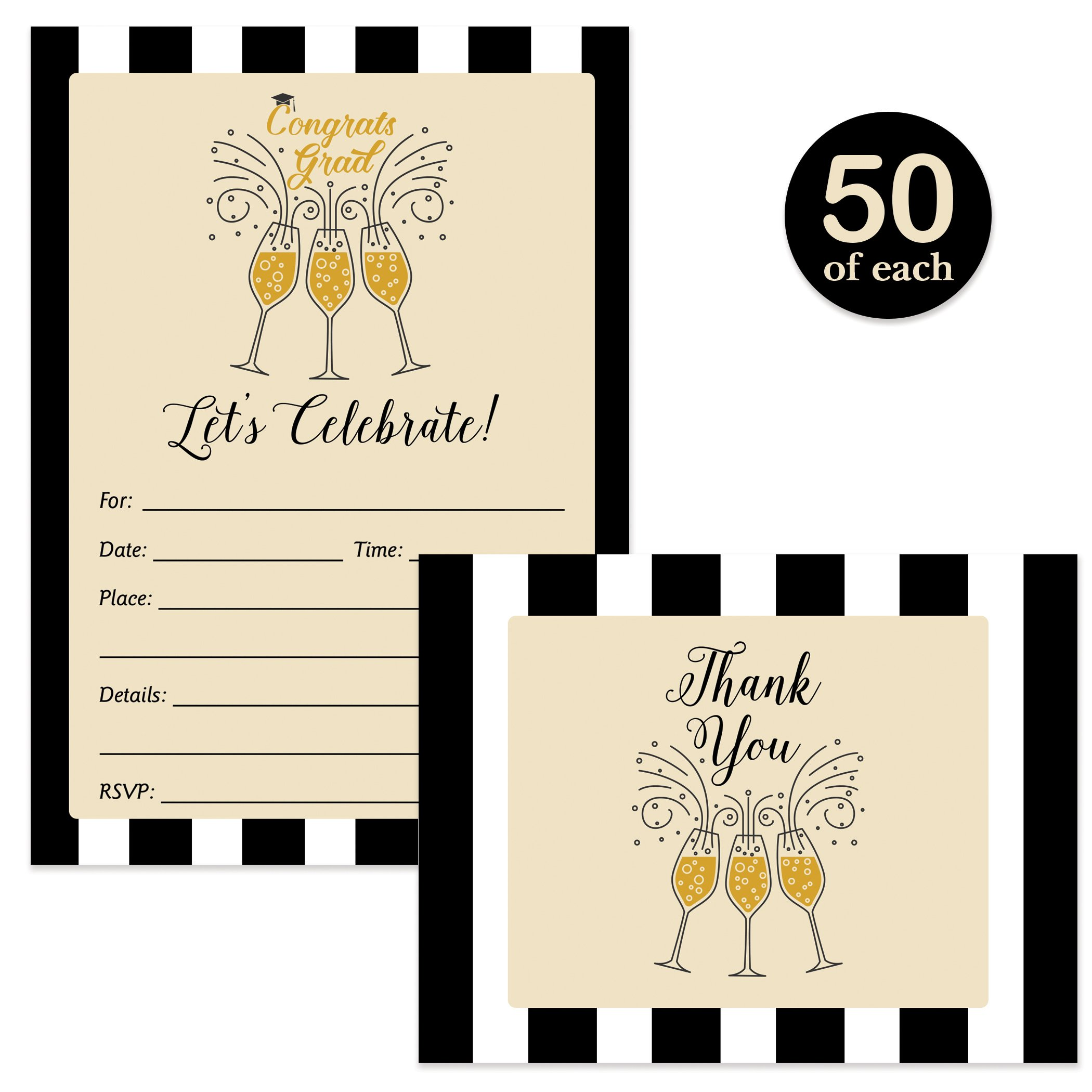 Graduation Invites & Thank You Cards Pop-the-Champagne Set Matching Invitations & Thank You Notecards with Envelopes ( 50 of Each ) Fill-In College High School Grad Party Invite Excellent Value Pair