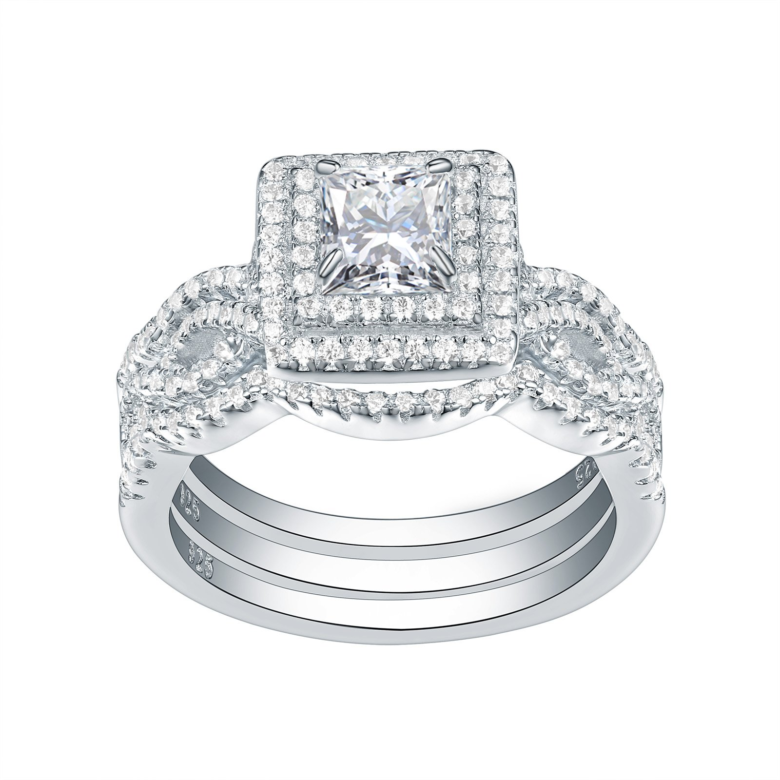 Newshe Wedding Engagement Ring Set For Women 925 Sterling Silver 3pcs 2.4Ct Princess White Cz Size 10