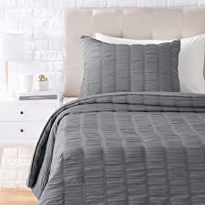 AmazonBasics Seersucker Comforter Set - Premium, Soft, Easy-Wash Microfiber - Twin/Twin XL, Dark Grey