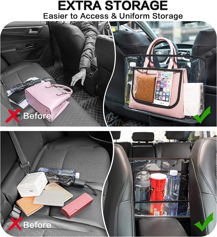 Clear Handbag Holder for Car Fits Most Vehicles SUV Jeep Sedan MENZOKE Car Handbag Holder Between Seats Large Capacity Seat Back Storage Organizer Pocket for Purse