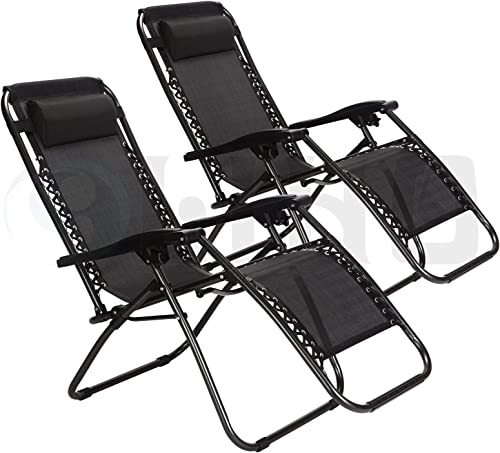 Idealchoiceproduct 2-Pack Zero Gravity Outdoor Lounge Chairs Black Patio Adjustable Folding Reclining Chair