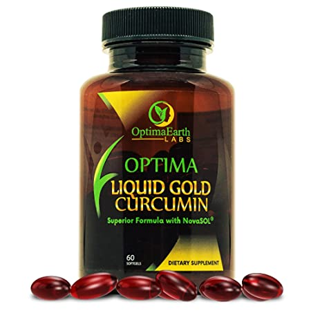 OptimaEarth Liquid Gold Curcumin w NovaSol – Turmeric Curcumin Supplement – Relief Factor for Joint Pain and Inflammation – 185x More Bioavailable Than Standard Curcumin Supplements