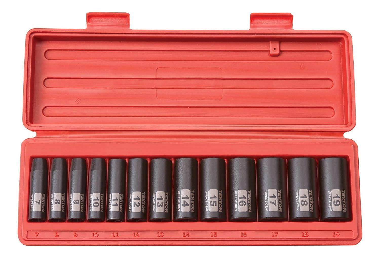 TEKTON 3/8-Inch Drive Deep Impact Socket Set, Metric, Cr-V, 6-Point, 7 mm - 19 mm, 13-Sockets | 47925