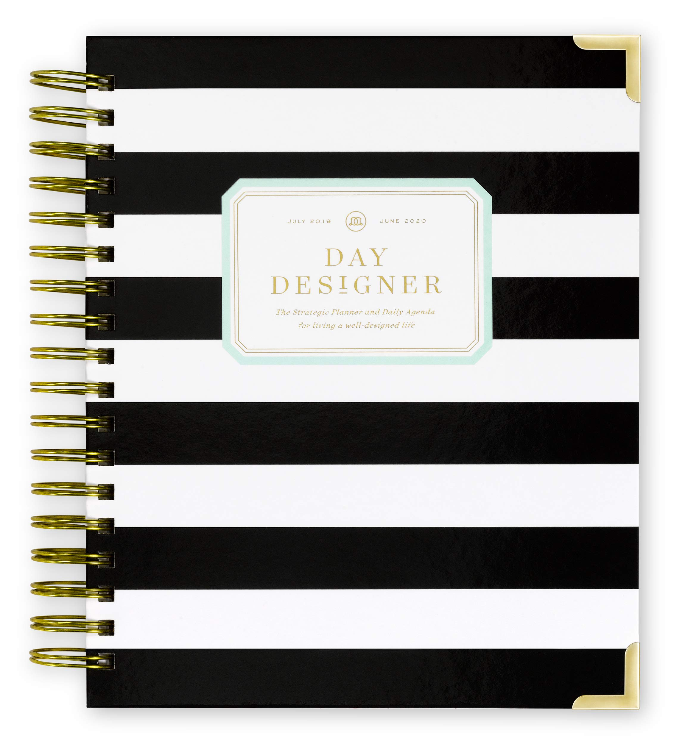 Day Designer 2019-2020 Daily Life Planner and Agenda, Hardcover, Twin-Wire Binding, 9'' x 9.75'', Black Stripe