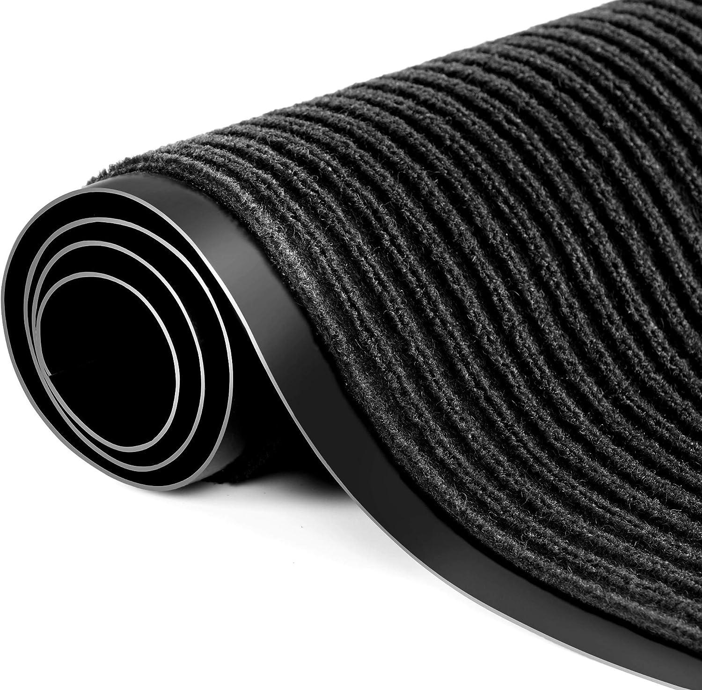 Noir Polypropyl/ène Paillasson antid/érapant pour entr/ée 90 x 150 cm Robuste Praknu Paillasson antid/érapant pour int/érieur et ext/érieur 90 x 150 cm Lavable