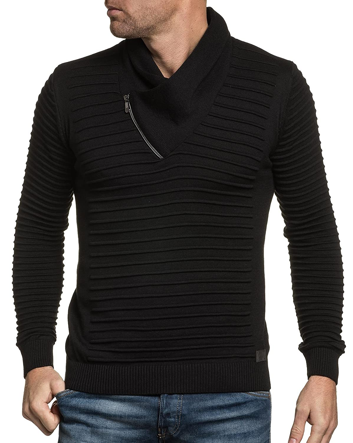 BLZ jeans - Pullover black man zipped collar