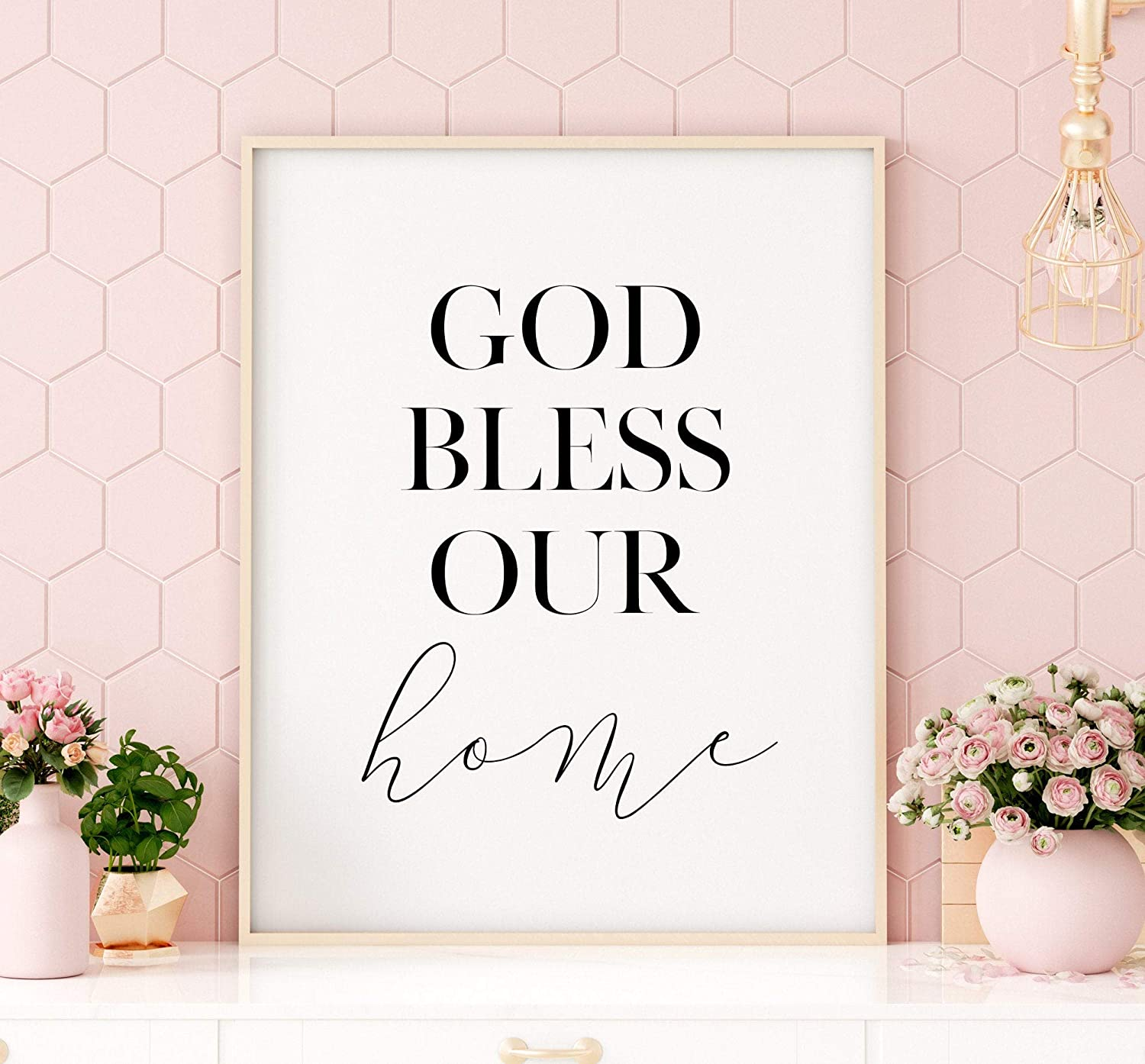 daoyiqi Wood Framed Bible Verse Sign 16x20 Inch God Bless Our Home Printable Art Home Sign Welcome Home Print Home Printable Wall Art Decor Home Decorative