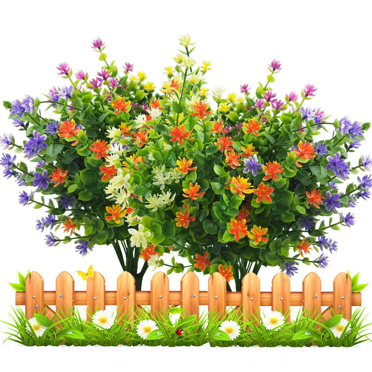 Artificial Fake Flowers Faux Outdoor Uv Resistant Boxwood Shrubs