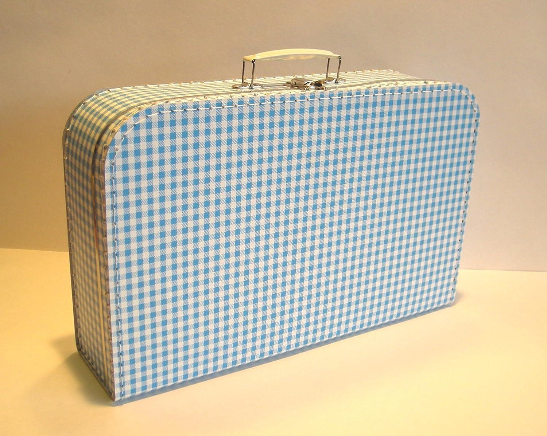 Vichy gro/ß 25cm Koffer Pappe hellblau wei/ß kariert Pappkoffer
