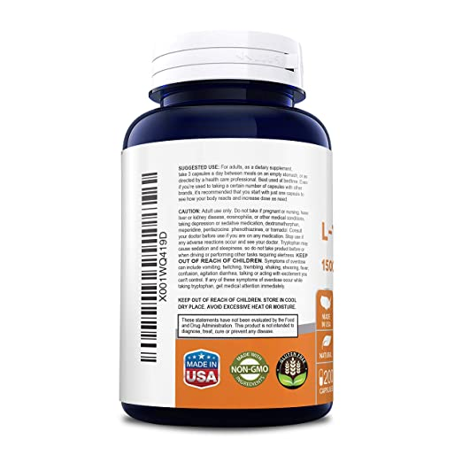 Amazon.com: Mejor L-Tryptophan 1500 mg 200 caps (sin gluten ...
