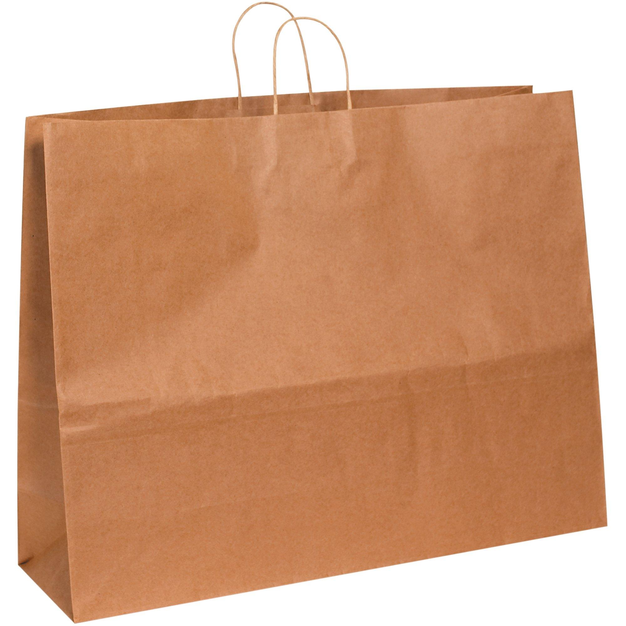 Paper Shopping Bags, 24'' x 7 1/4'' x 18 3/4'', White, 125/Case
