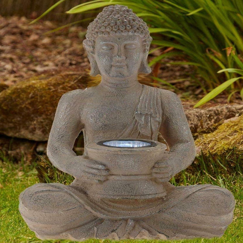 Sitting Buddha Stone Effect Solar Powered Spot Light Lamp Garden Statue Large Home Indoor Outdoor Ornament Thai Decoration Sculpture Figure 31cm