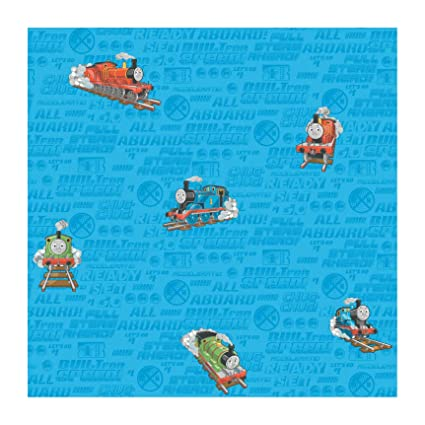 York Wallcoverings Bt2909 Thomas The Train Wallpaper Ocean Bluetangerine Orangelime Greenstop Sign Redblack Onyby
