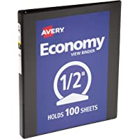 Avery Economy View Binder with 0.5 Inch Round Ring, Black (5751)