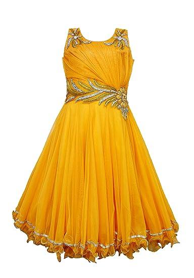 8b9faeda7 Purple Princess Girls Orangish Yellow Net Gown for Age of 2 to 17 ...