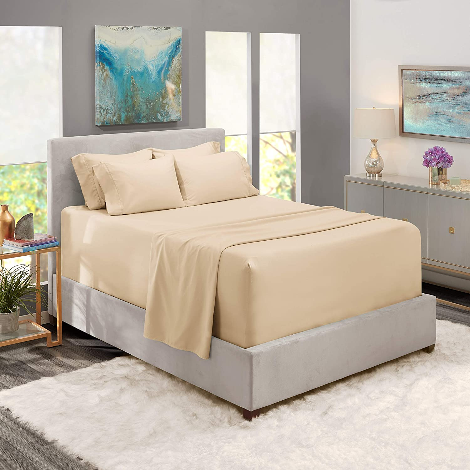 Nestl Extra Deep Pocket King Bed Sheets – 6 Piece Cream Deep Pocket King Size Sheets – Hotel Deep Bed Sheets - Deep King Size Fitted Sheet Set Super Deep Sheets fits 18 Inch to 24 Inche Mattress 6 PC