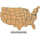 Amazon.com : | Pushpin Corkboard USA Map and Pins | US Travel ...