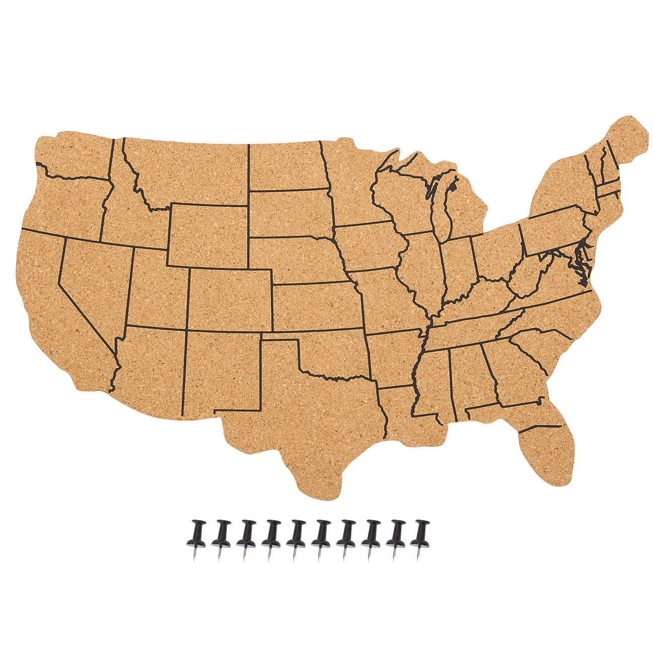 Juvale USA Map Cork Board - Wall-Mounted Hanging Bulletin Board - Perfect DecorHome, Office, Schools Restaurants - 17.7 x 11.2 x 0.03 inches