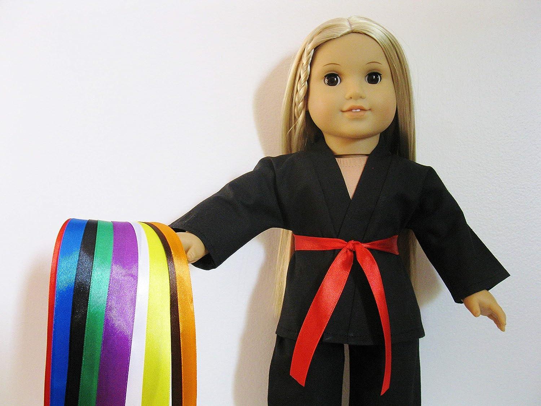 Handmade Doll Clothes Black Karate Uniform Gi Judo TKD fits 18 American Girl Dolls