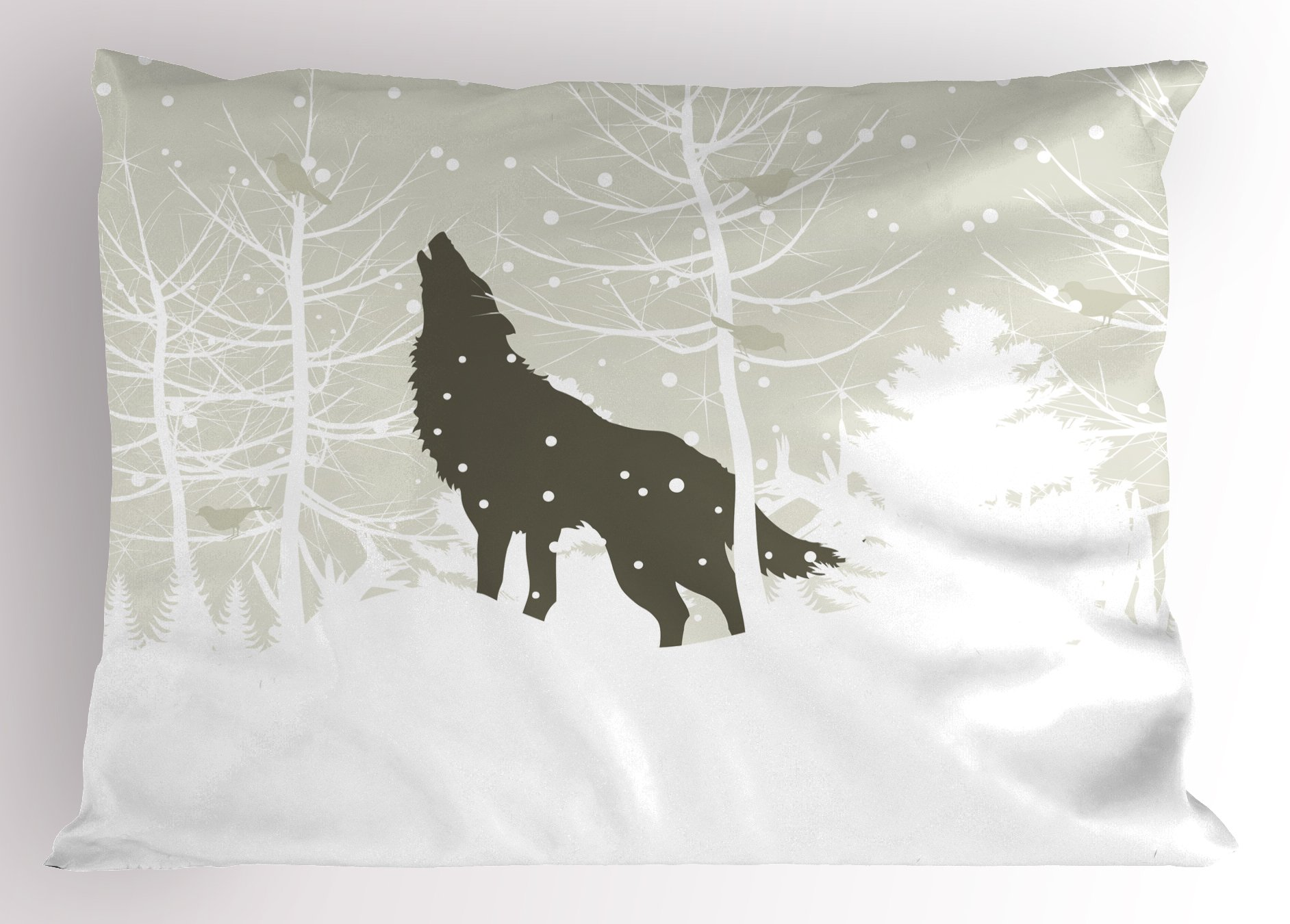 Lunarable Winter Pillow Sham, Wolf Silhouette Howls in Woods Leafless Trees Snowflakes Wilderness, Decorative Standard Size Printed Pillowcase, 26 X 20 Inches, Eggshell Army Green White