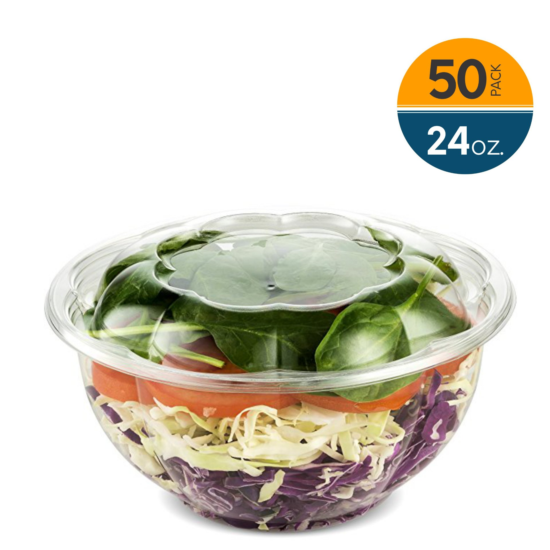50 Pack Clear Plastic Disposable Salad Containers Set with Leak Proof Lids (24 Ounce) – Bulk Pack of Portable Salad To-Go Meal Prep Food Boxes - Fresh Airtight Seal - by NYHI Direct