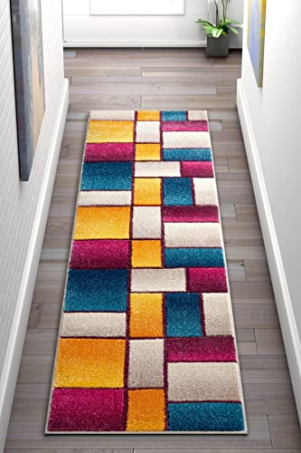 Beverly Squares Multi Yellow Blue Orange Purple Fuchsia Modern Geometric Hand Carved 2×7 2' x 7' Runner Area Rug Easy to Clean Stain Fade Resistant Thick Soft Plush