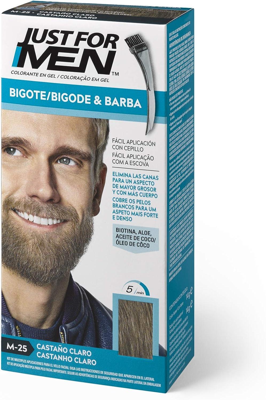 Just For Men, Tinte Colorante en gel para barba y bigote para hombre. Elimina las canas y cuida la barba en 5 minutos. Castaño Claro, 15 ml (Formula ...