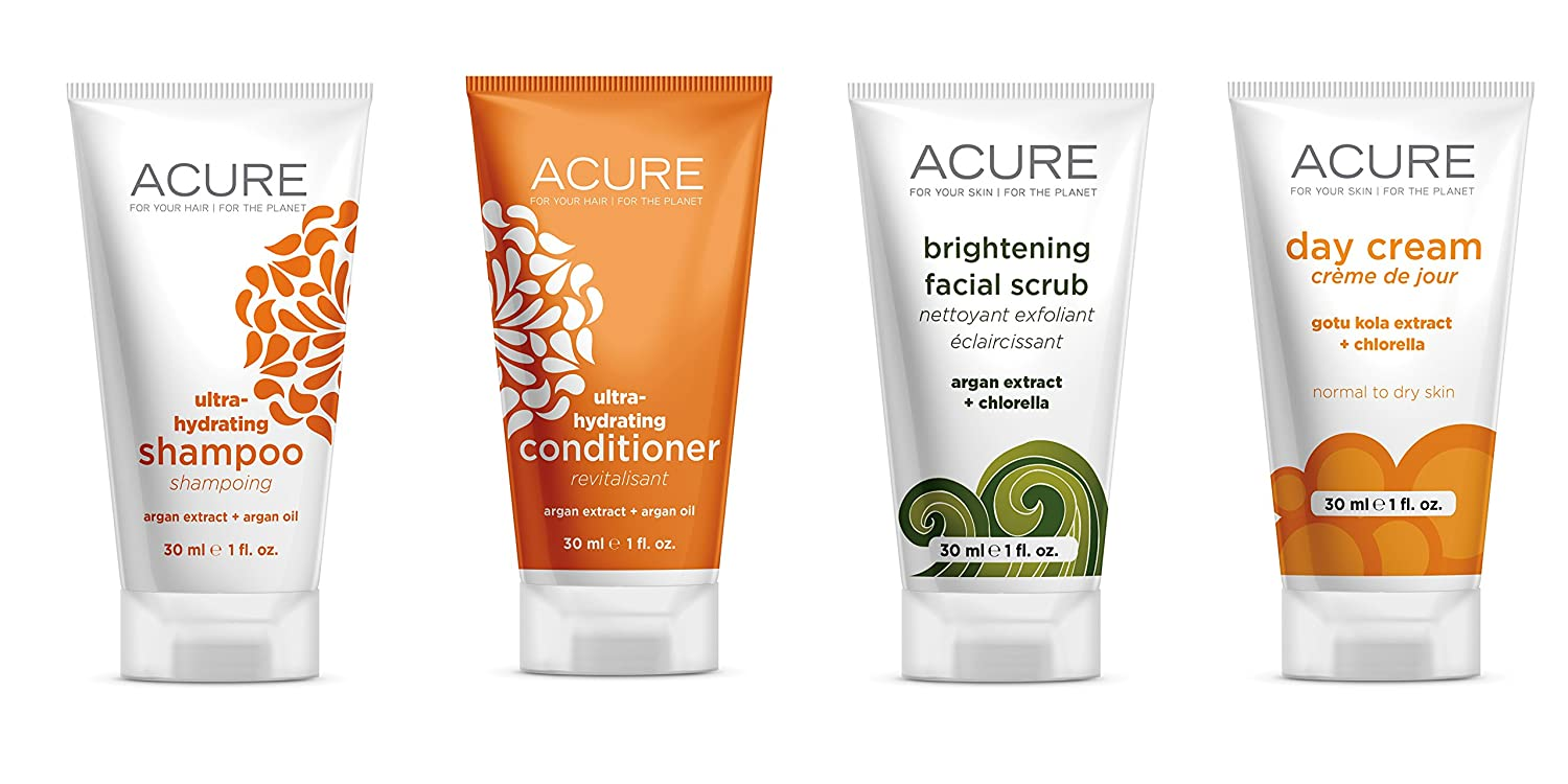ACURE Essentials Travel Size Kit, Shampoo, Conditioner, Day Cream and Facial Scrub (Packaging May Vary) Better Planet Brands LLC 303