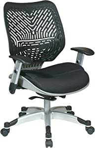 SPACE Seating REVV Self Adjusting SpaceFlex Raven Backrest Support and Padded Raven Mesh Seat with Adjustable Arms and Platinum Finish Base Managers Chair