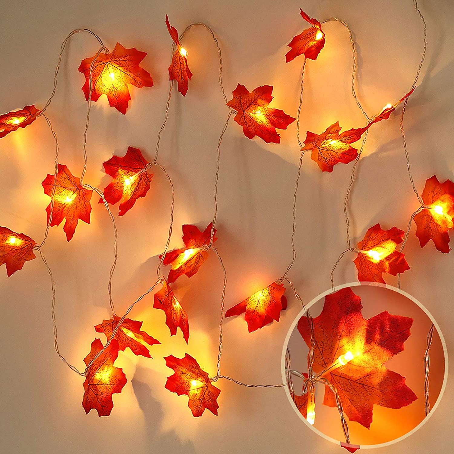 RECUTMS Thanksgiving Decorations Lighted Fall Garland, 9.8 Feet 20 LED Thanksgiving Christmas Decor Maple Leaves String Lights, Thanksgiving Gift Fall Decor for Home Holiday Autumn Garland Indoor