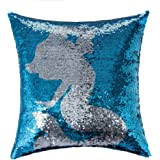 Homecy Reversible Sequins Pillow Cover Mermaid Patten Pillowcases Throw Cushion 16x16 Inch