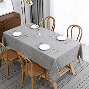 maxmill Flaxy Faux Linen Table Cloth with 2-Tone Slubby Texture Wrinkle Resistant Anti-Shrink Soft Tablecloth for Kitchen Dining Tabletop for Buffet Banquet Parties Rectangle 52 x 70 Inch Smoke Grey