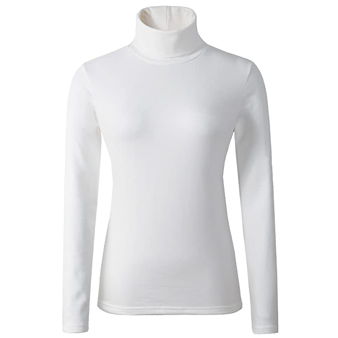 HieasyFit Women's Cotton Turtleneck Top Basic Layering Thermal Underwear White S best women's turtleneck