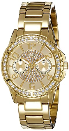Guess Womens Quartz Watch with Gold Dial Analogue Display and Gold Stainless Steel Bracelet W0705L2