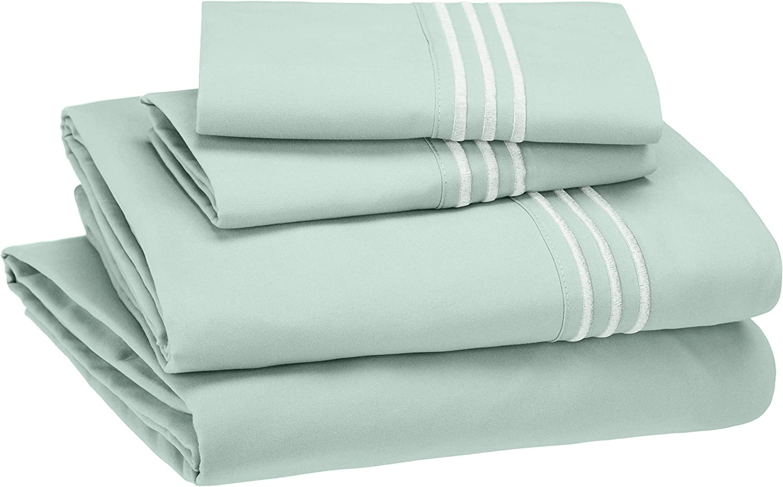 AmazonBasics Embroidered Hotel Stitch Sheet Set - Premium, Soft, Easy-Wash Microfiber - Queen, Seafoam Green