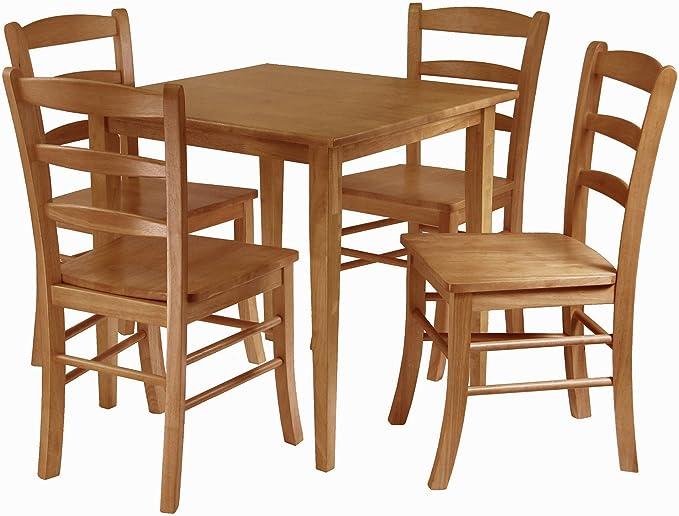 Winsome Groveland 5 Piece Wood Dining Set Light Oak Finish Table Chair Sets