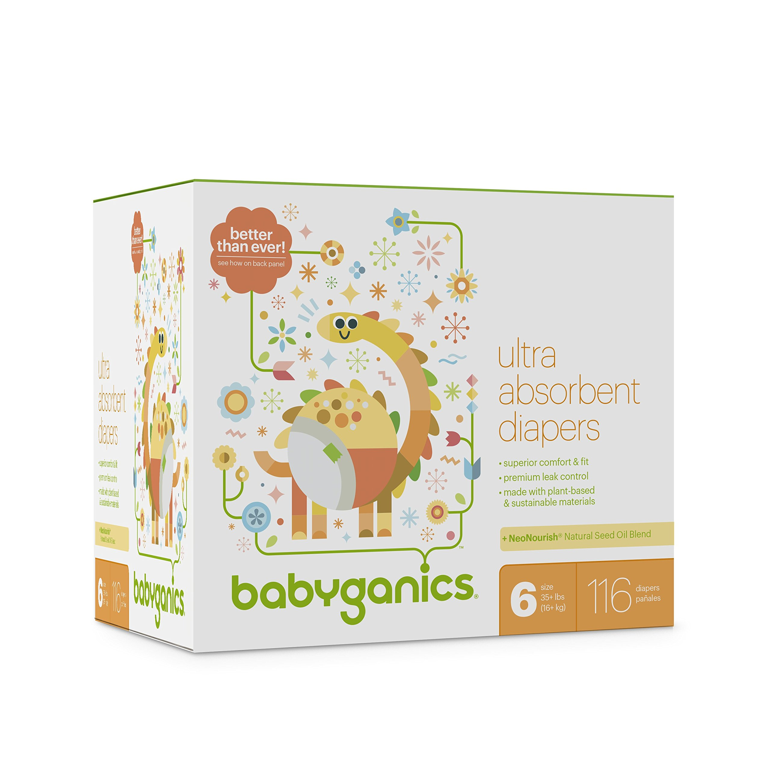 Baby Diapers, Size 6 (35 lbs+) 116 Count- Babyganics Ultra Absorbent, Unscented, Made without Chlorine, Latex