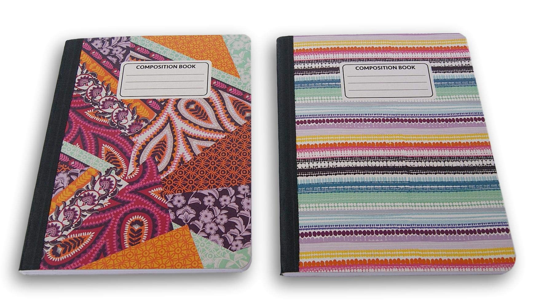 Triangles and Stripes Patterned Wide Ruled 100 Sheets Composition Notebooks - (Pack of 2)