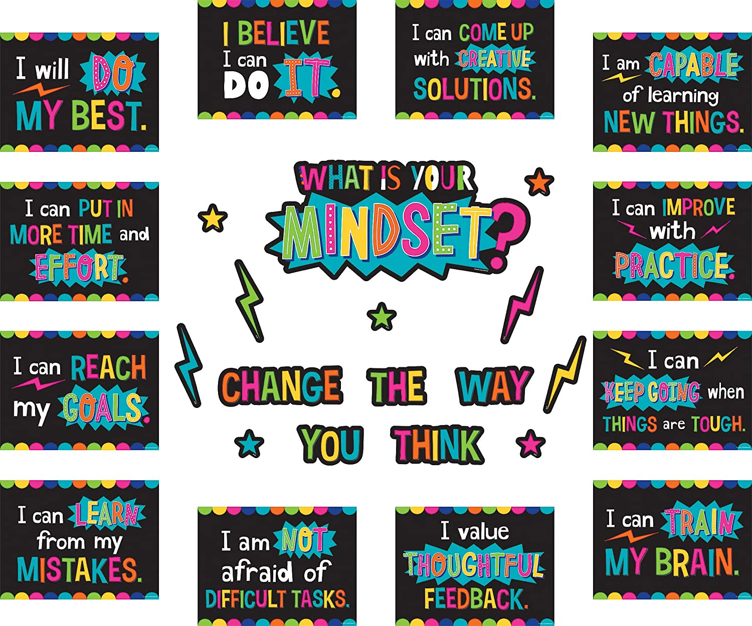 Amazon Com Teacher Created Resources What Is Your Mindset Bulletin Board Tcr8882 Office Products