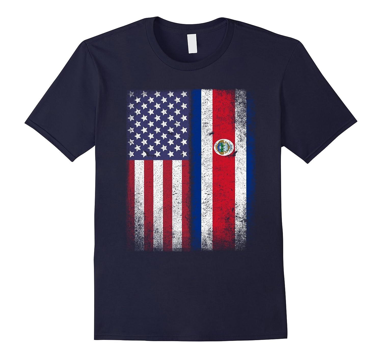 American Costa Rican Flag T-shirt Costa Rica Pride Heritage-TH