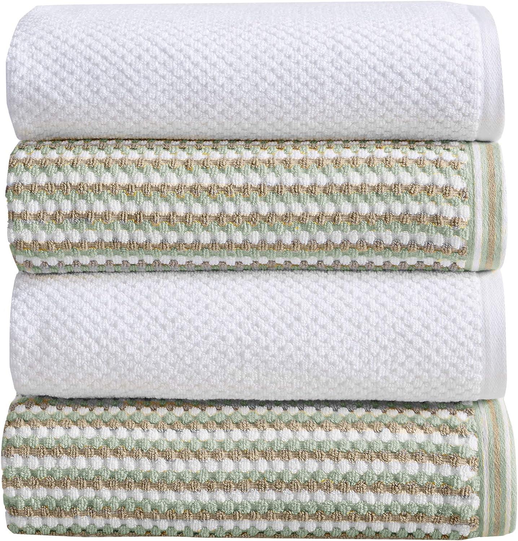 4-Piece Bath Towel Set. 100% Cotton Multi-Striped Bathroom Towels. Quick Dry and Absorbent Towels. Set Includes 4 Bath Towels. Milos Collection (4 Pack, Eucalyptus / Beige)