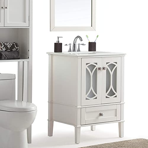 Simpli Home Paige 24 inch Contemporary Bath Vanity in Pure White with White Engineered Quartz Marble Extra Thick Top