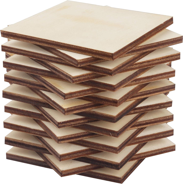 Pack de 60 Posa Vasos para Mesa 0,5cm de Grosor /Álbum Recortes Cuadrados de Madera 7,5cm x 7,5cm Manualidades Piezas Madera Manualidades sin Acabado para Decoraciones Regalo Arte Pirograbado
