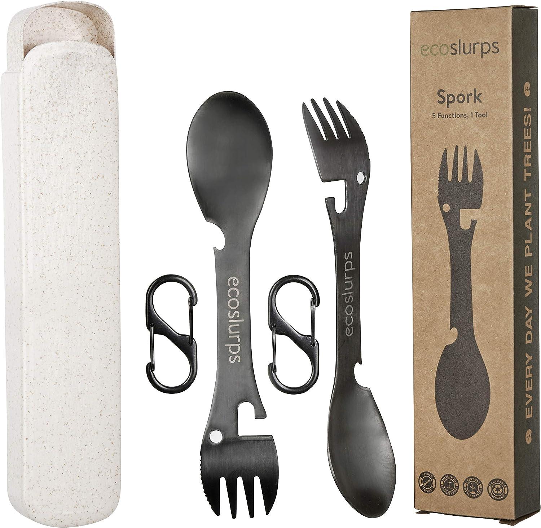 EcoSlurps Tenedor, cuchillo, cuchara, abrebotellas, abridor de latas, acero inoxidable, 5 funciones, para senderismo, senderismo, senderismo, etc. ...