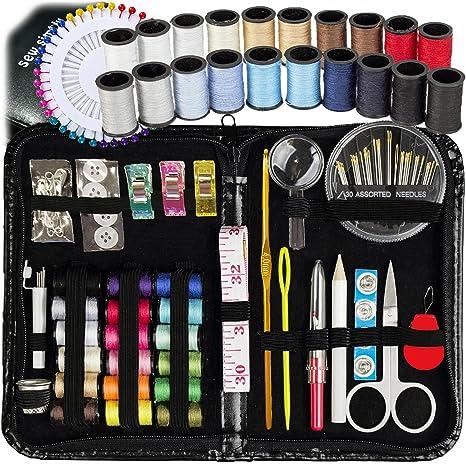 46 piezas Kit de costura portátil de viaje pequeña casa Estuche Juego de tijera de aguja de hilo