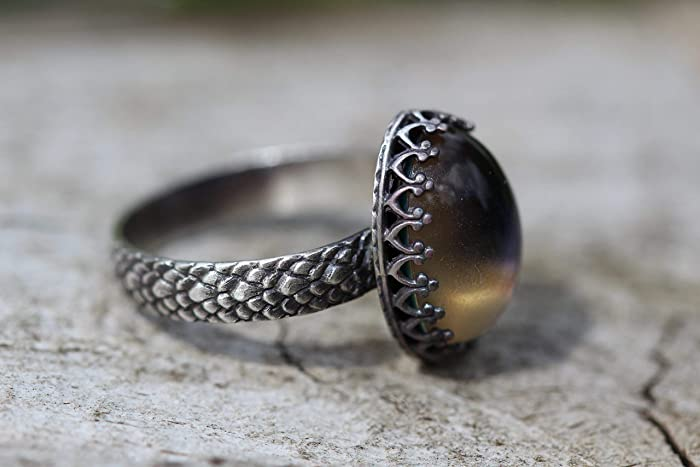 Sterling Silver Changing Colors Mood Snakeskin Cocktail 14x10mm Ring