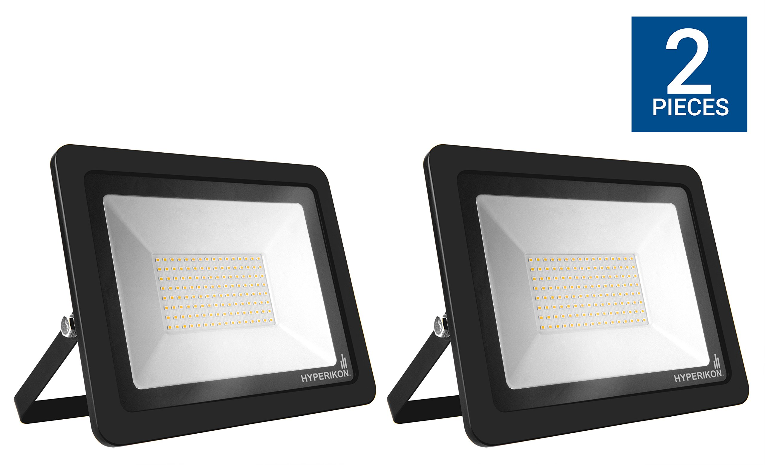 Hyperikon LED Flood Light 100W (500w Eq.) 180° Rotatable Bracket, 5000k, 8000 Lumens, Super Bright Outdoor LED Floodlight, Weatherproof IP65, UL suitable for dry and damp locations, 110V, 2-Pack by Hyperikon