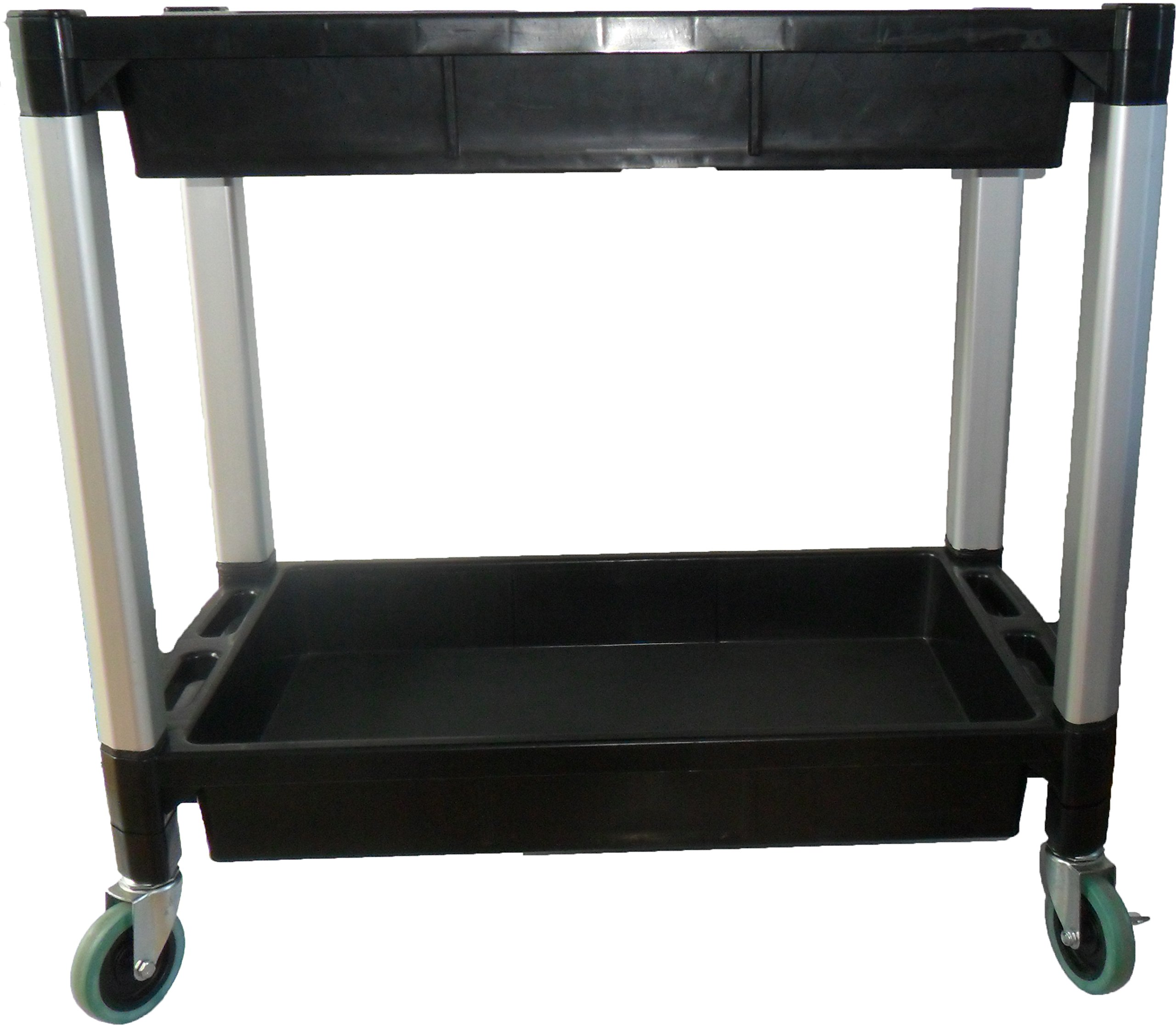 MaxWorks 80384 Black and Gray Two-Tray Service/Utility Cart With Aluminum Legs And 4'' Diameter Swivel Castors by MaxWorks (Image #4)