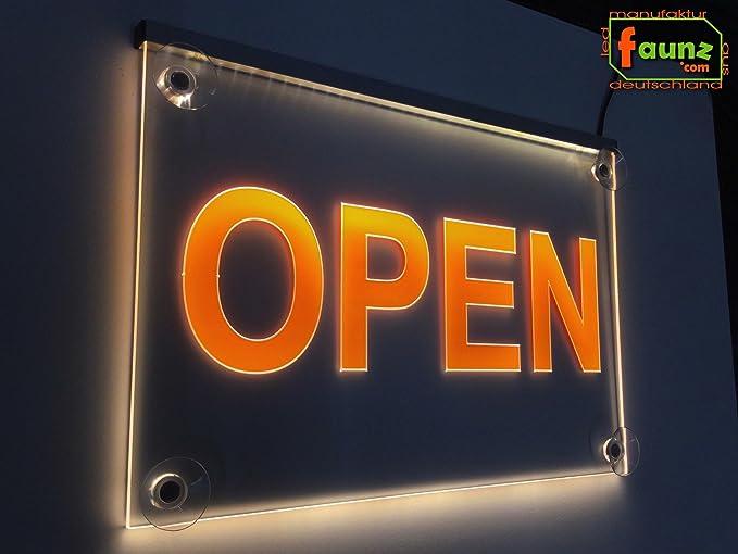 Open/LED Cartel Abierto Amarillo o su texto publicitario en ...