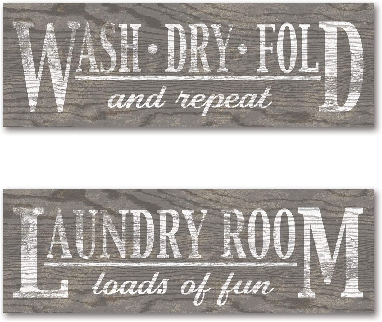 Gango Home Decor Classic Grey Laundry Signs on Wood-Panel Style Background; Two 18x6in Mounted Pieces; Ready to Hang!